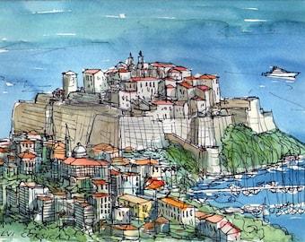 Calvi Corsica France art print from an original watercolor painting