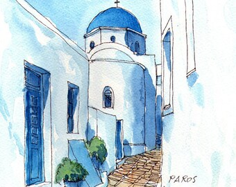 Paros Chapel  Greece art print from an original watercolor painting