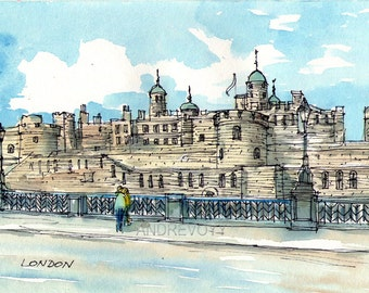 London Tower East Side art print from an original watercolor painting