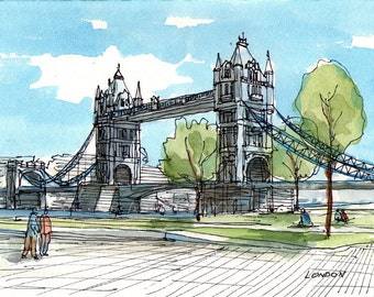 London, Tower Bridge 1 art print from an original watercolor painting
