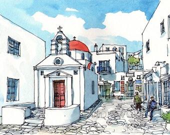 Mykonos Church  Greece art print from original watercolor painting