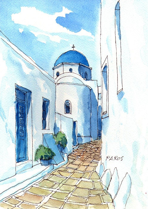Paros Chapel Greece Art Print From An Original Watercolor