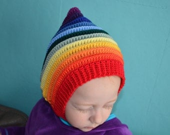 Crochet pattern : pixie-hat-with-scarf-in-one and pixie-hat with a strap in 4 sizes