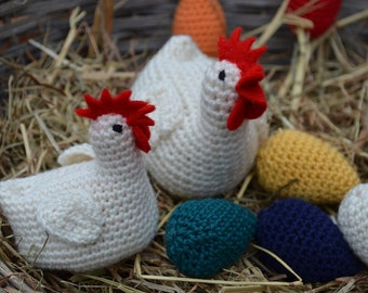 Crochet pattern : Easter chicken and eggs