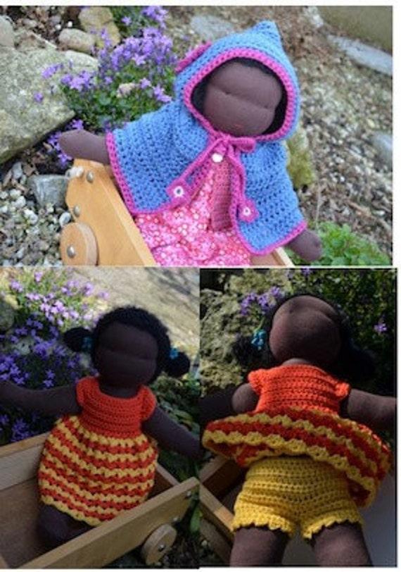 Crochet pattern : waldorf doll clothes summer dress - undies - hooded poncho