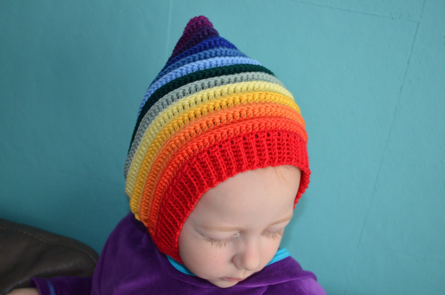 Crochet pattern : pixie-hat-with-scarf-in-one and pixie-hat