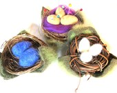 Reserved for Daneille Ong Custom Made Hand Needle Felted Eggs in a nest, 5 pin cushionons