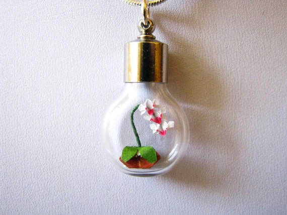 Miniature origami orchid necklace - Origami Jewelry