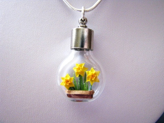 Last Available Miniature Origami Daffodils Necklace - Series of 4