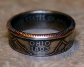 Custom 2002 Ohio State Quarter Coin Ring  Size 5 to 13 By Custom Coin Rings