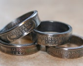Illinois State Quarter Coin Ring  U pick size by Custom Coin Rings jewelry
