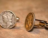 Mercury Dime Cufflinks cuff links jewelry by Custom Coin Rings