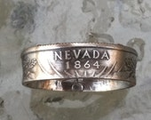 2006 Nevada State Quarter  coin Ring  Jewelry by Custom Coin Rings Handmade size 5 to 13
