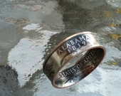 2003 Alabama State Quarter Coin Ring  U pick size jewelry by Custom Coin Rings