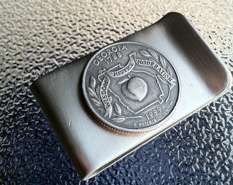 1999 Money Clip with Georgia State Quarter jewelry By Custom Coin Rings