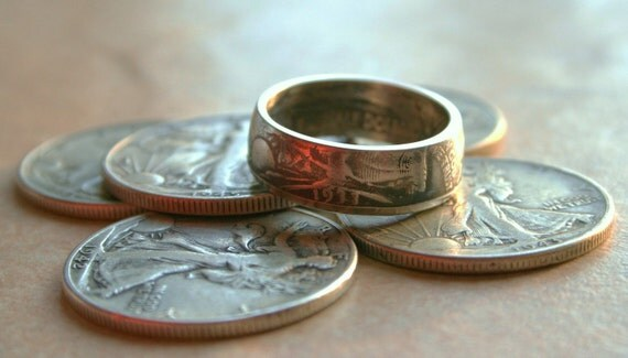 Custom made Walking Liberty Coin Ring Made to fit Sizes 9-14 Jewelry by Custom Coin Rings