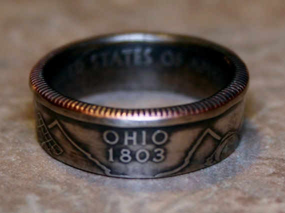 2002 Ohio State Quarter Coin Ring  Size 4.5 to 14 By Custom Coin Rings