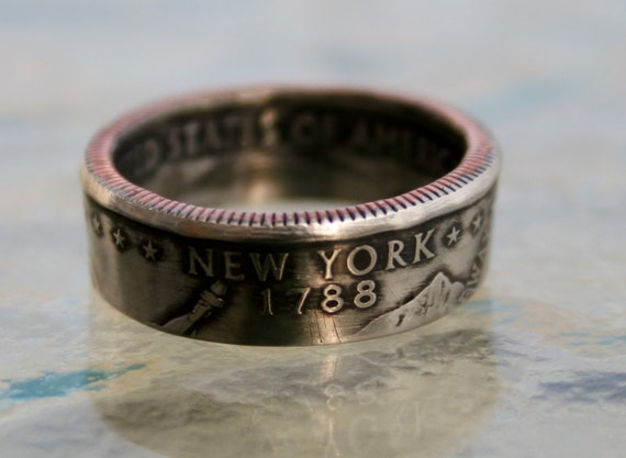 2001 New York State Quarter Coin Ring  You pick size by Custom Coin Rings