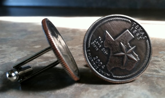 Pick your State Quarter Cufflinks wedding 5 pairs by Custom Coin Rings