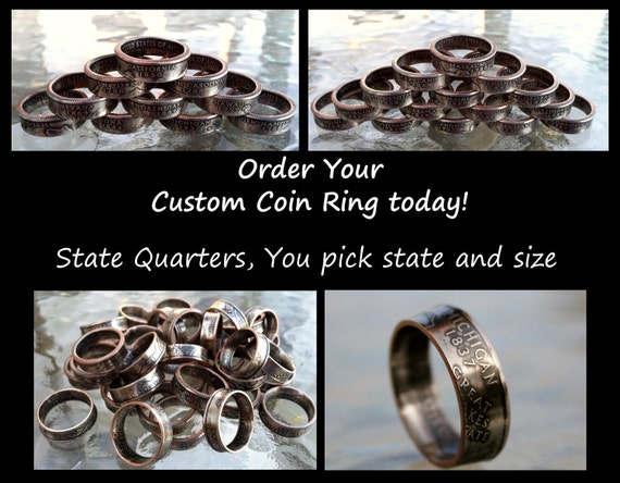 west virginia state quarter coin ring made to order sizes 4 5. Black Bedroom Furniture Sets. Home Design Ideas