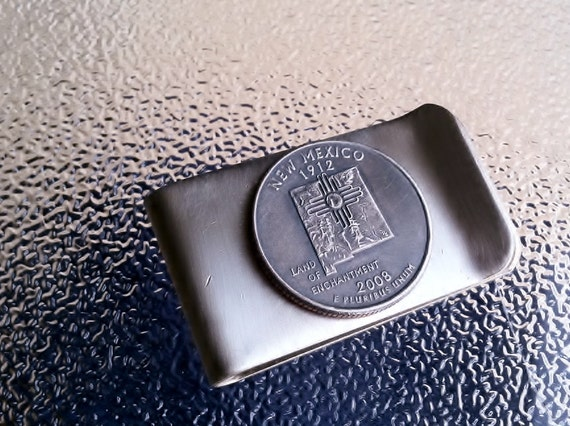 2008 Money Clip with New Mexico State Quarter jewelry By Custom Coin Rings
