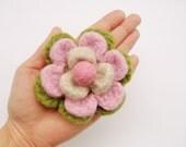 Felted Flower brooch pin
