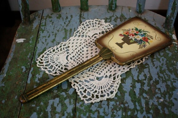 Art Deco mirror, gold plated, in good condition