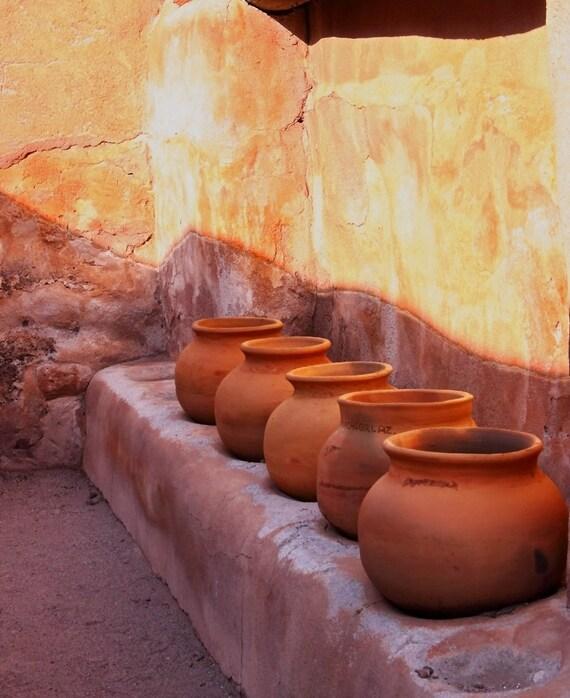 Southwestern decor, Native American pots, Tumacacori Misson, Tubac AZ, adobe red, Mexican style, western decor, FastWinn Photography
