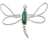 Dragonfly Pendant, Malachite and Sterling Silver  pmalh1889