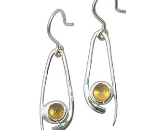 Citrine and Sterling Silver Dangle Earrings,  ecitc2031