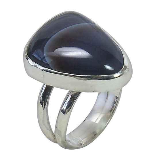 Botswana Agate Ring set in Sterling Silver, Size 7-1/2  r75botf1821