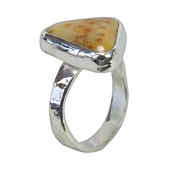 Petrified Palm Wood Ring set in Sterling Silver, Size 6-1/4  r625plme1836
