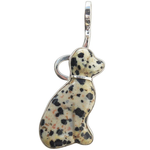 Dalmatian Jasper and Sterling Silver, Dalmatian Dog Pendant,  pdalj1848