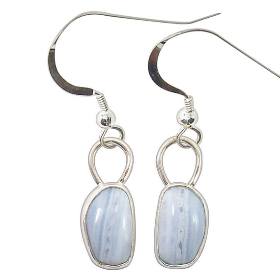 Blue Lace Agate and Sterling Silver Dangle Earrings  eblad1986