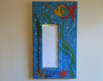Mosaic  Mirror, Beach Decor, Home Decor Tropical, fish, starfish, glass colorful