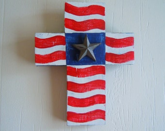 Americana Cross Handpainted