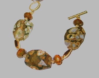 Rhyolite and gold bracelet
