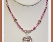 Pink Pearls and Heart Pendant Necklace ...