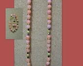 CLEARANCE ITEM ... Lovely Necklace, Bracelet and Earrings.. orange-ish / pinkish