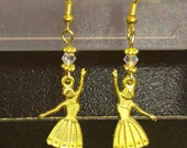 Sale Priced For Cearance ... 3.00 each ...  Ballerina Earrings with an AB crystal ... very cute .... gold Metal Earrings