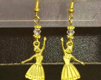 Sale Priced For Cearance ... 3.00 each ...  Ballerina Earrings with an AB crystal ... very cute .... gold Metal Earrings
