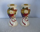 BELLA CASA by Ganz Candle Holders, Handpainted, (Pair)