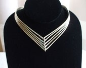 Silver V Shaped Collar Necklace, Hand Crafted 70's  Vintage ,