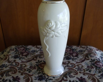 LENOX BUD VASE, Embossed roses and gold trim.