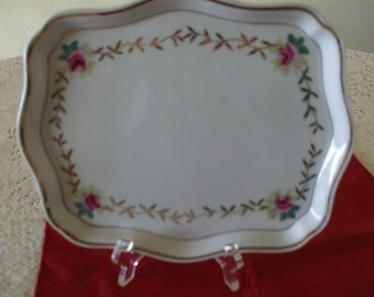 Vintage AN TRICE, Small Dresser Tray , hand painted roses and gold filigree