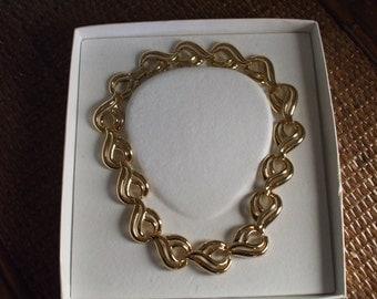 Krementz Contempo Gold Tone Link Necklace in Original Box
