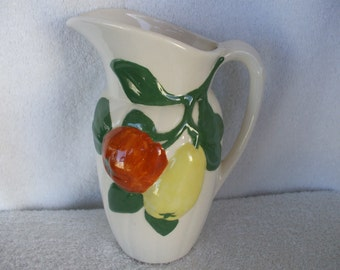 Holland Mold -Water Pitcher,  Handpainted Apples and Pear, --Cream,  Milk Pitcher - Vase