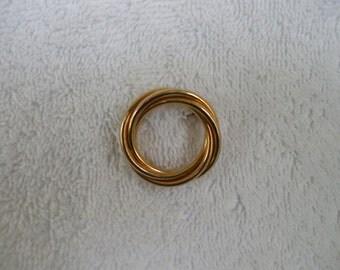 Ronci 12kt Gold Filled Pin, Brooch,  Intertwined Circles, Collar, Coat, Dress, Blouse, Shirt, Jacket
