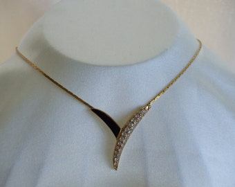 Trifari Gold Tone, Rhinestone and Black Enamel Necklace. 80's, Signed, Prom, Grad.
