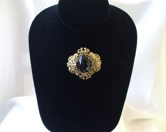 Antique Gold  Metal Black Glass Cabochon Center with Rhinestones Brooch  Large Piece